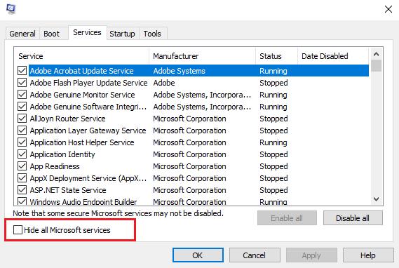 Hide all Microsoft services