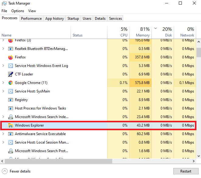 Windows Explorer High CPU Ram