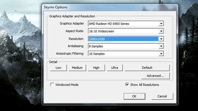 Launch Skyrim in Windowed Mode to Fix Skyrim Failed to Initialize Renderer Error