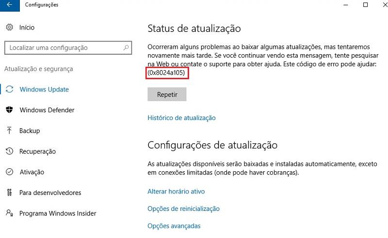 Windows Update Error Code 0x8024a105 in Windows 10