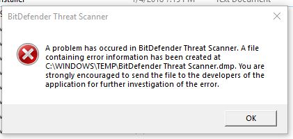 How to Fix A Problem Has Occurred in Bitdefender Threat Scanner in Windows 10, 8 and 7