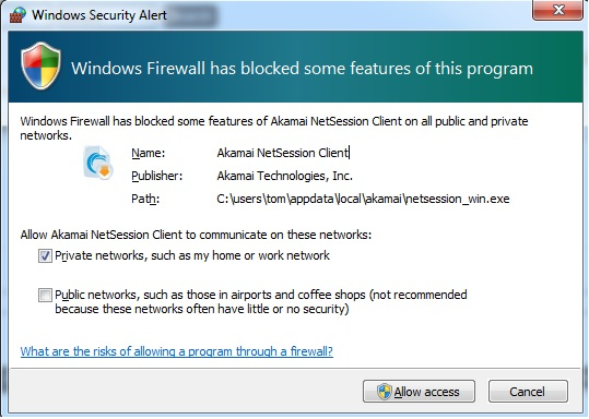Akamai NetSession Blocked by Windows Firewall