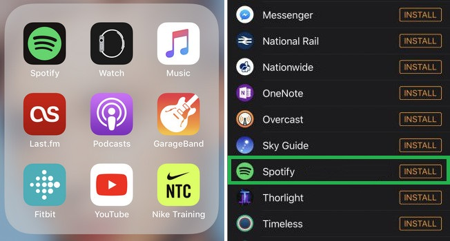 Install Spotify Music on Apple Watch